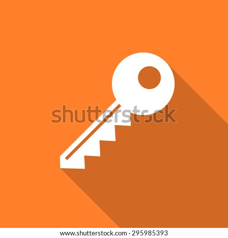 key flat design modern icon with long shadow for web and mobile app  - stock photo