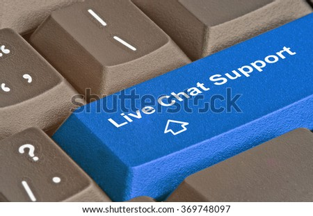 key for live chat support - stock photo