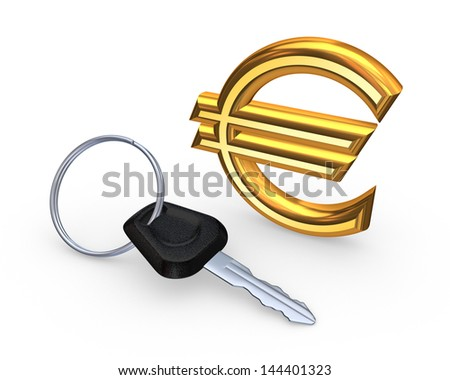 Key from car and sign of euro.Isolated on white.3d rendered. - stock photo