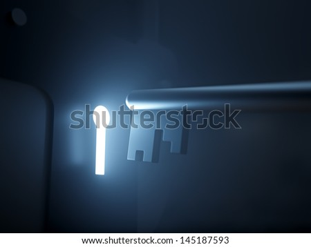 Key & Glowing Keyhole Key & glowing keyhole on dark background. - stock photo