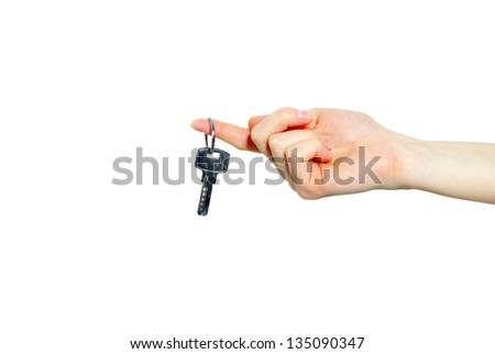 key in hand isolated on white - stock photo