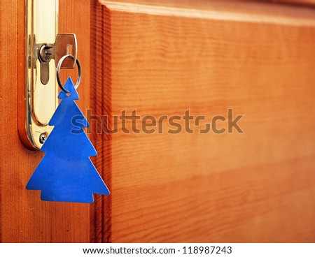 key in keyhole with blank tag in the form of a Christmas tree - stock photo