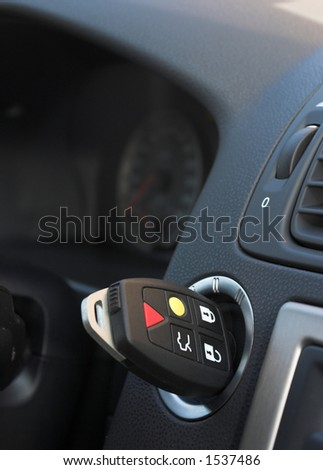 Key in the ignition - stock photo