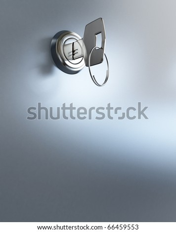 key in the keyhole - stock photo