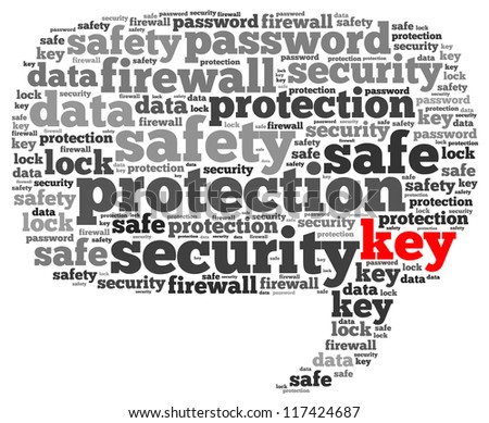 Key info-text graphics and arrangement concept on white background (word cloud) - stock photo