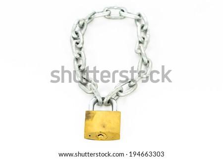 Key lock locked with a chain - stock photo