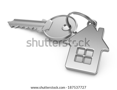 Key of house isolated on white - stock photo