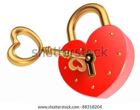 key opens the padlock, on a white background, 3d render - stock photo