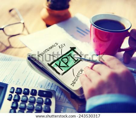Key Performance Indicator KPI Evaluation Goals Accounting Concept - stock photo