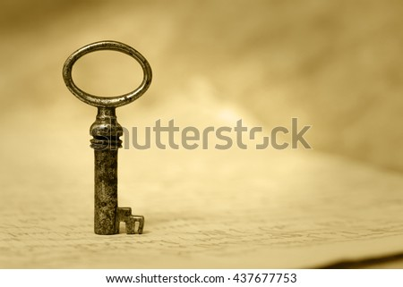 Key - success and solution concept background with copy space - stock photo