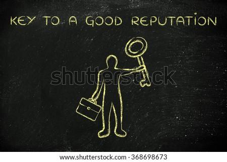key to a good reputation: business man holding giant key - stock photo