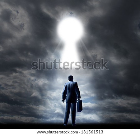 Key to business success with a businessman standing with a briefcase looking into a glowing key hole opening in the cloudy sky as a concept of future opportunity and aspirations. - stock photo