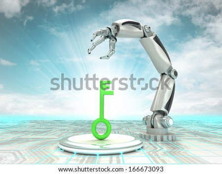 key to cybernetic robotic hand automatic technologies with cloudy sky illustration - stock photo