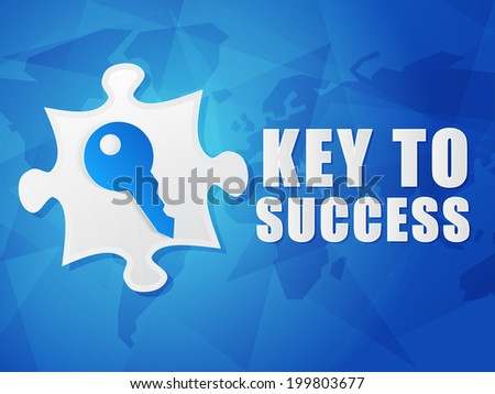 key to success and puzzle piece with key sign - white text with symbol over blue world map background, flat design, business creative concept - stock photo