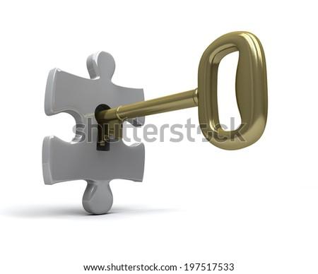 Key unlocks single jigsaw piece - stock photo
