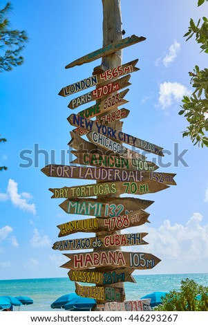 Key West beach distance signs to worldwide landmarks Florida USA Fort Zachary Taylor - stock photo