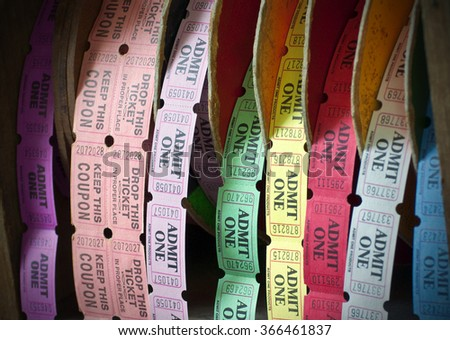 KEY WEST, FL - JANUARY 6: Rolls of multicolored admission tickets outside the Ernest Hemingway House on January 6th, 2010 in Key West, Florida. The house is the former residence of the famous author. - stock photo