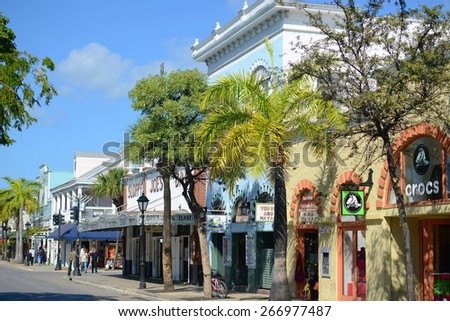 KEY WEST, FL, USA - DEC 20: Colorful Shops on Duval Street on December 20th, 2015 in Key West, Florida, USA - stock photo