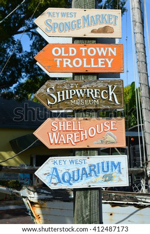 KEY WEST, FL, USA - JAN 1: Colorful signs at the entrance of Mallory Square on Jan 1st, 2015 in Kew West, Florida, USA. - stock photo