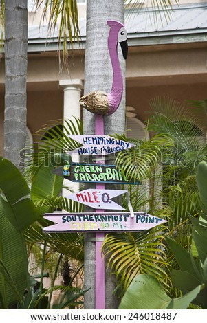 KEY WEST, FLORIDA-MARCH 23, 2009:  It is easy to find your way around in Key West using whimsical signs like this. - stock photo