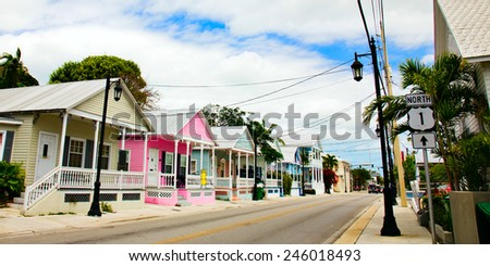 KEY WEST, FLORIDA - MARCH 23, 2009:  These cottage homes in Key West, Florida are indicative of the colorful style of this town, - stock photo