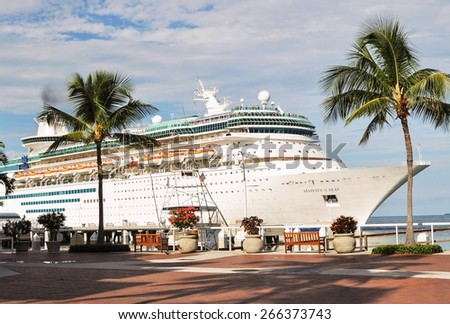 KEY WEST, FLORIDA, USA - JUNE, 03, 2010: Royal Caribbean's ship Majesty of the seas sails in the Port of Key West on June 03, 2010 - stock photo