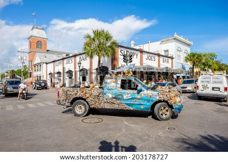 KEY WEST, FLORIDA USA - JUNE 26, 2014: The historic and popular Sloppy Joe's Bar on Duval Street in downtown Key West. - stock photo