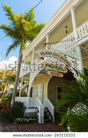 Key West, Florida USA - March 3, 2015: Typical wood frame bed and breakfast style hotel home in the residential district of Key West. - stock photo