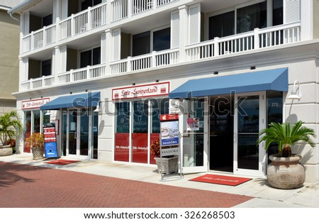 KEY WEST-OCTOBER 11:  Little Switzerland Jewelers is pictured in Key West, Florida, on October 11, 2015.  Stores are located across the Caribbean, and specialize in fine jewelry and watches. - stock photo