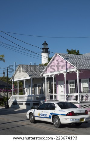 KEY WEST, USA - NOV 17: Police car in Key West. November 17, 2009 in Key West, Florida, USA - stock photo