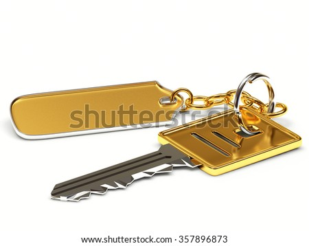 Key with blank golden label isolated on white background  - stock photo