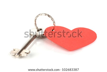 Key with heart-shaped charm isolated on white - stock photo