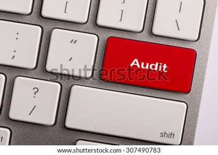keyboard button with word audit - stock photo