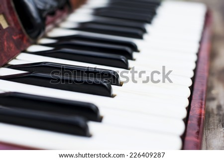 Keyboard closeup on a red classic children accordian  - stock photo