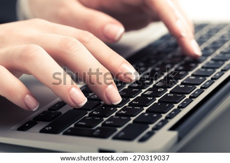Keyboard, desktop, using. - stock photo