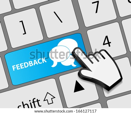 Keyboard feedback button with mouse hand cursor  illustration - stock photo