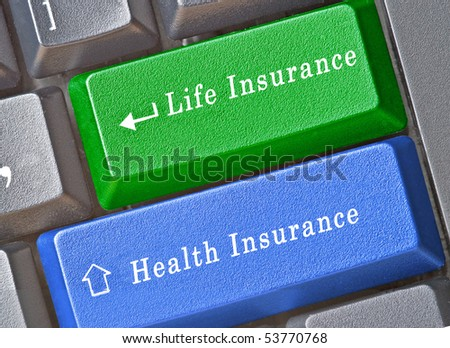 Keyboard for insurance - stock photo