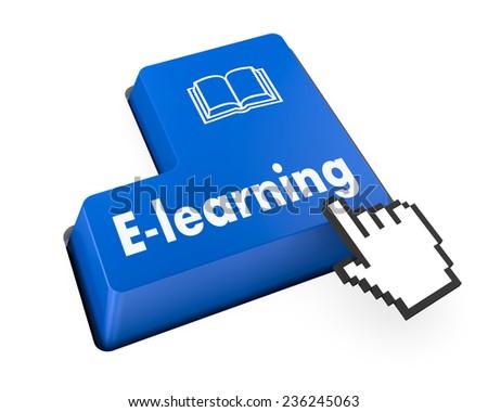 Keyboard Illustration with E-Learning wording - stock photo