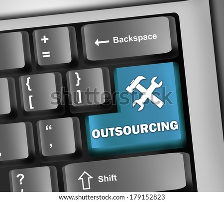 Keyboard Illustration with Outsourcing wording - stock photo