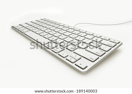 Keyboard Isolate on White Wide Angle View - stock photo