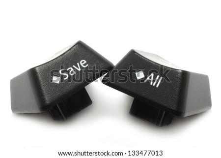 Keyboard keys isolated on a white background - stock photo