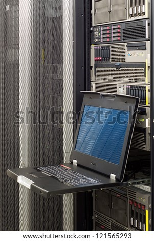 Keyboard Video Mouse KVM Switch in server rack mount - stock photo