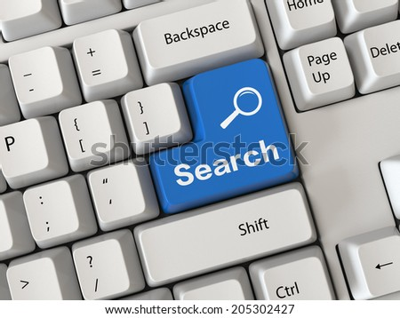 Keyboard with a word search - stock photo