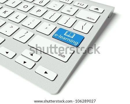 Keyboard with blue E-learning button, internet concept - stock photo