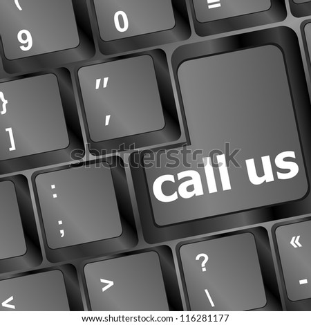 keyboard with call us button. raster - stock photo