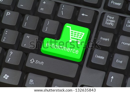 Keyboard with e-commerce button - stock photo