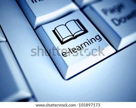 Keyboard with E-learning button, internet concept - stock photo