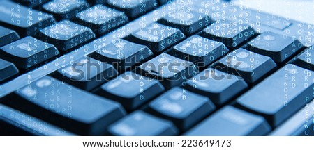 keyboard with hacking password concept - stock photo