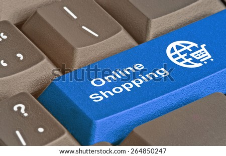 Keyboard with hot key for shopping - stock photo