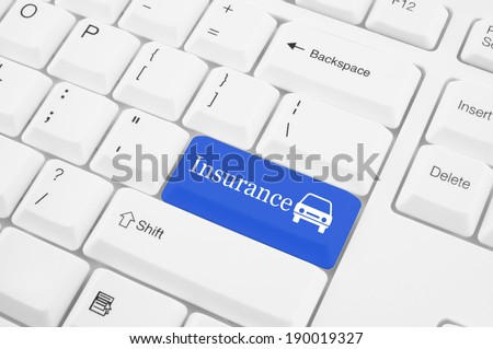 Keyboard with insurance button, car insurance concept - stock photo